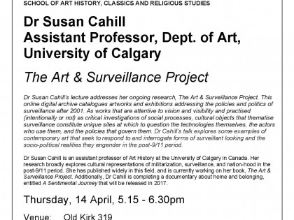 Public talk: The Art & Surveillance Project at Victoria University of Wellington (New Zealand)